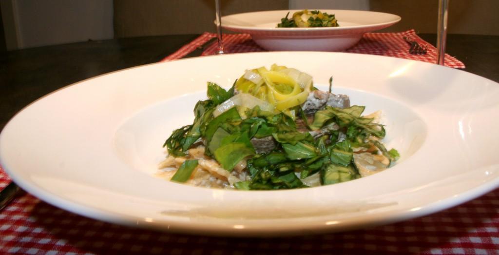 Sherry-Lauch-Pasta mit Rinderfilet und Basilikum