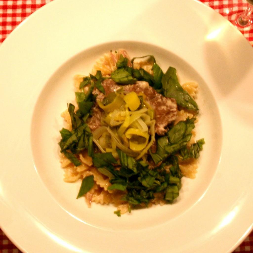 Sherry-Lauch-Pasta mit Rinderfilet