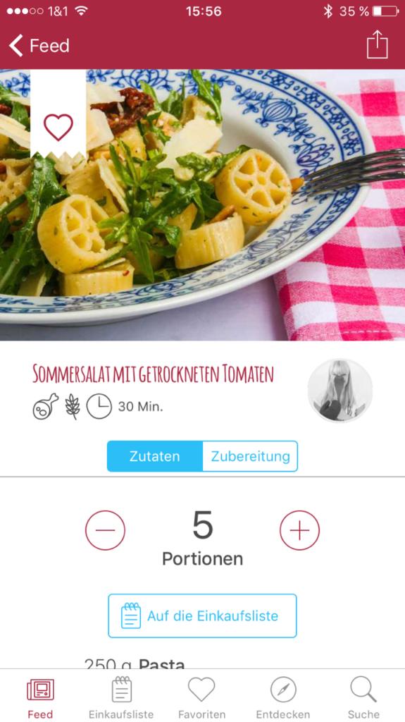 Kochgehilfin in der Mealy App 1