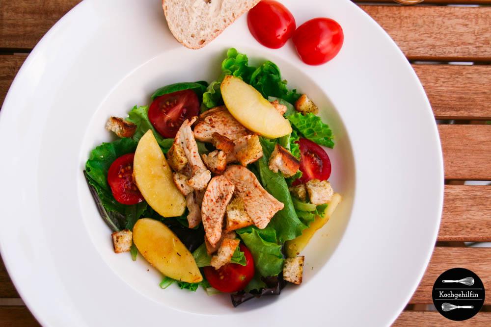 Salat mit Hühnchen und karamellisiertem Apfel-5