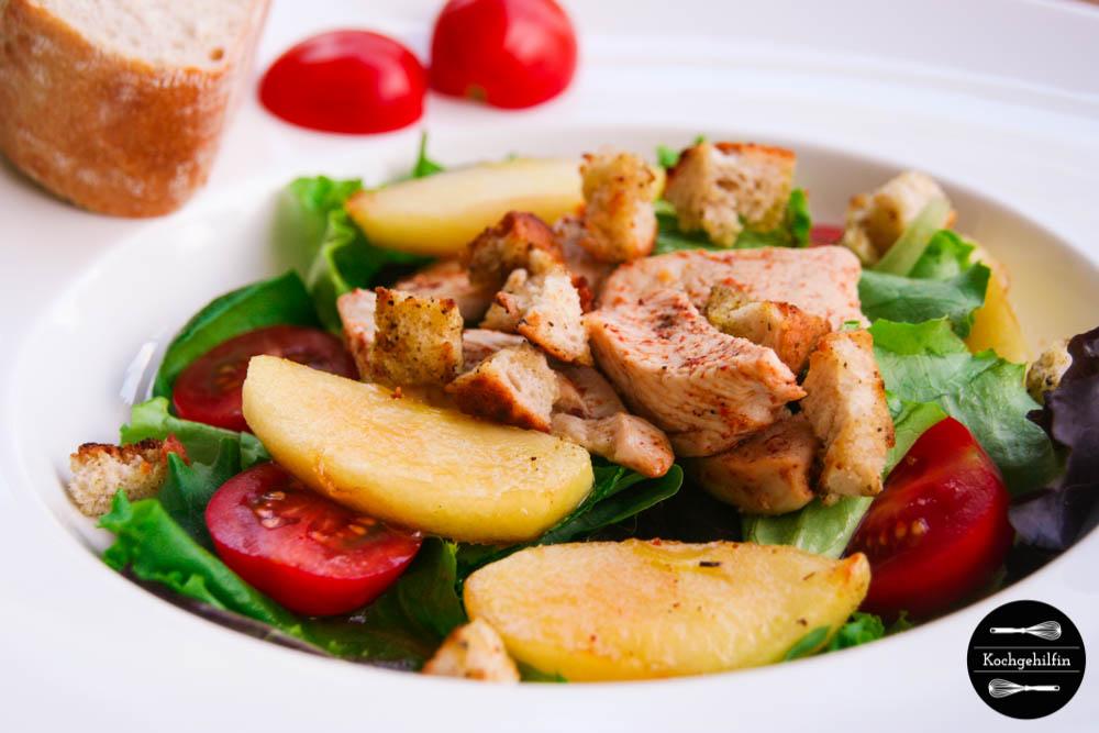 Salat mit Hühnchen und karamellisiertem Apfel-6