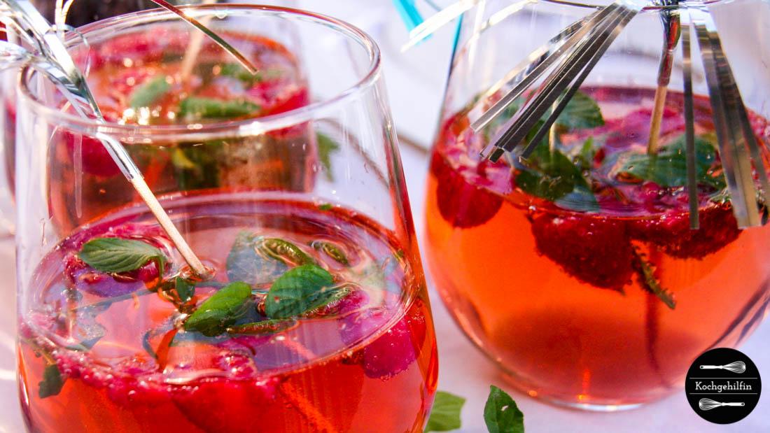 Champagner Himbeer Drink